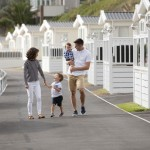 Family walking through Newquay holiday park
