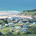 View of Porth Beach Holiday Park and Beach