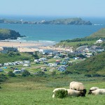 View of newquay holiday park with Porth Beach in background